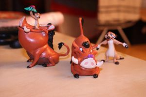 The Lion King - Timon and Pumbaa figures by CrocodileRawk