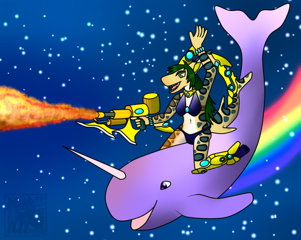 Shark w/ Flame Thrower on a Magical Space Narwhale by CorruptedDragon