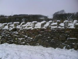 Snowy Dry Stone Wall Stock by dustysweet