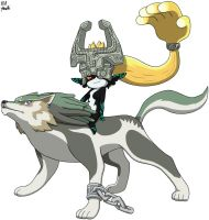 Wolf Link and Midna by VGAfanatic