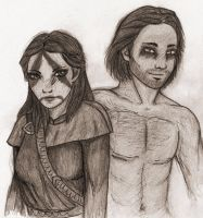 Dovahkiin and her wolf by Neryn