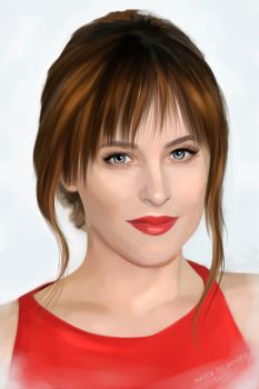 Portrait of Dakota Johnson as Anastasia Steele by MartaDeWinter