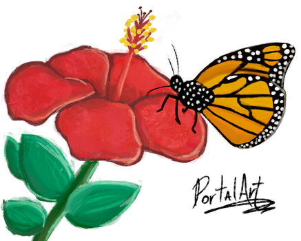 #PaintingADay - Aug 2 (Monarch on Hibiscus) by PortalArt