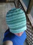 Green striped hat (for sale) by Shankler