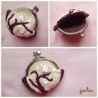 Cherry Flowers Crochet Purse by Tofe-lai