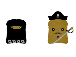 Toast Ninja and Pirate by TinyDojo