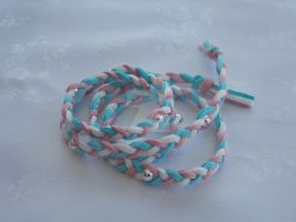 Wraparound suede bracelet pink blue white by Quested-Creations