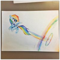 Rainbow Dash Sonic rainboom - colour pencils by Affanita