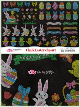 Chalkboard Easter clipart by PolpoDesign