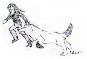 D and a wolf by Franky-Wolf1