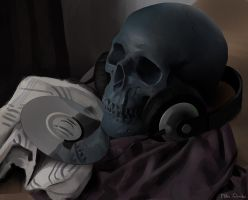 still life - skull with headphones by Miles-Johnston