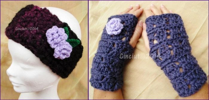 Headband and gloves with roses by Cinciut