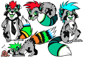 Spunky Racoon Doodlesheet Commission by Yo-Angie