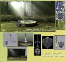 Master Sword and Hylian Shield by pikminlink