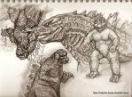Godzilla doodle page done by tarpalsfan