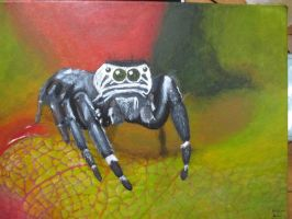 Jumping spider on canvas by TheBlackEwe