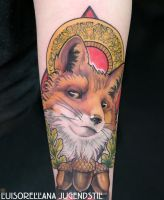 art nouveau fox tattoo by mojoncio