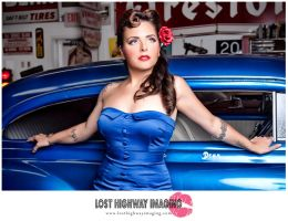Pinup Girl and Her Car by bethanyclaire