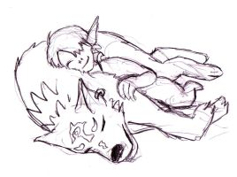 midna and link sleeping by tremault5
