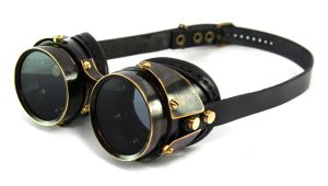 Steampunk goggles - blackened brass Quad Plated by AmbassadorMann