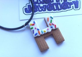 H Cupcake Letter Necklace by tyney123