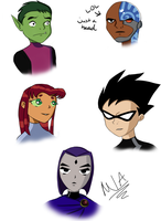 Teen Titans Headshots by missylightangel