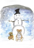 Snow Dogs greeting card by originalceenote