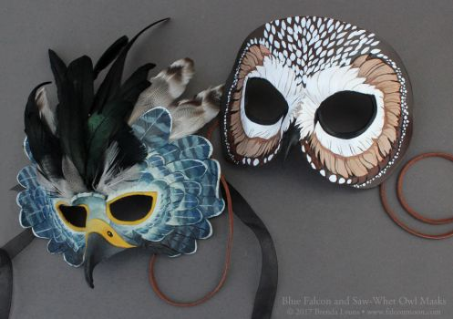 Blue Falcon and Saw-Whet Owl Leather Masks by windfalcon