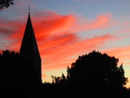 The Church Tower In The Sunset by marshmallow-away