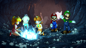 Mario and Friends in the Crystal Cave by BradMan267