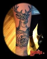 Deer and Rose by NephtysTattoo
