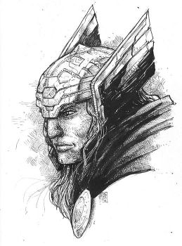 Crosshatchstudy6 Thor by deemonproductions