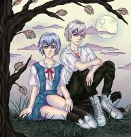 Rei and Kaworu by Asenath23