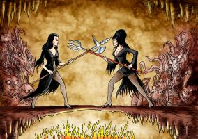 Vampira and Elvira settle out of court by Loneanimator