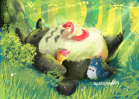 Totoro and MLP by AquaGalaxy