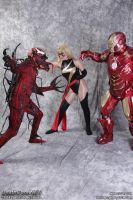 Ironman and Ms Marvel vs Carnage by EccentricCasey