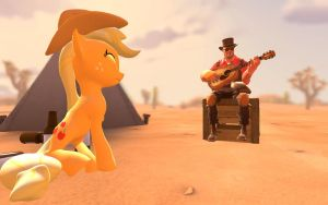 Applejack and the Engineer at the campfire by GeneralThunderbat
