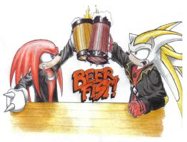Com - Knukles and Seth in...BEER FIST! by Zero-White-tiger