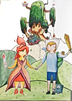Adventure Time- Flame Princess and Finn by Motorquest