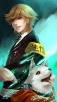 Amada Ken and Koromaru by allenerie