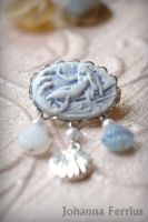 Romantic Mermaid Brooch with cameo by Johanna-Ferrius