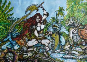 Anya and the Lizards (Color Version) by DustyPaintbrush
