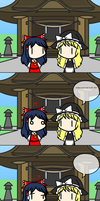 Reimu doesn't approve of Marisa's way of speaking by Tsukune429