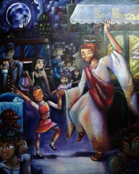 Dancing with Jesus painting on canvas by villyvalley16