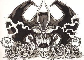 Devilman Skull and Roses by MonsterInk