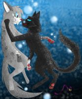 ::Ashfur and Scourge drowing in lies:: by SamanthaThePanther