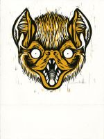 Snarly Animal Head Series: Yellow Bat by AmandaMyers