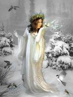Snow Woman Wishes by AngeliaArt