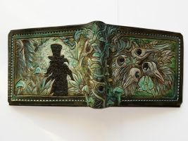 Green Crow skull leather wallet by Bubblypies