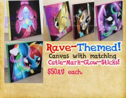 Selling MLP Rave Canvases! (Always open.) by nova-fire-dragon